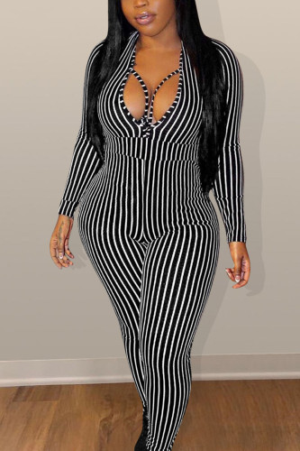 Black Fashion Sexy Adult Polyester Striped Split Joint V Neck Skinny Jumpsuits