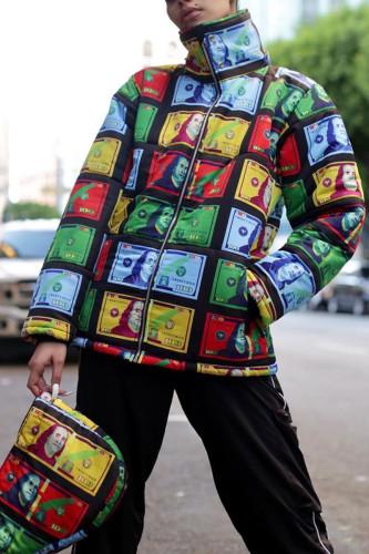 Black Fashion British Style Adult Polyester Print Cardigan Turtleneck Outerwear