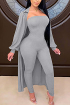 Grey Fashion Sexy Adult Polyester Solid Split Joint Turndown Collar Long Sleeve Regular Sleeve Long Two Pieces