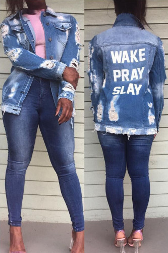 Blue Turndown Collar Letter Hole washing The cowboy Others Long Sleeve Outerwear