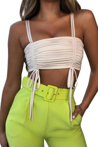 Green Polyester Slip Sleeveless Fluorescent backless bow-knot Tank Tops & Camis FN231178