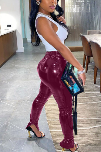 Wine Red Fashion Casual Street Sportswear Polyester Faux Leather Solid Slit Pants Plus Size