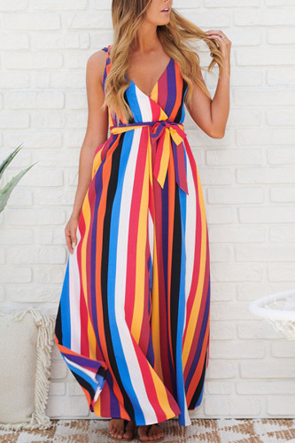 multicolor Lightly cooked Spaghetti Strap Sleeveless Slip Swagger Floor-Length Bowknot Striped Print Patchwork Dresses