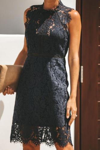 Black Polyester Sexy Fashion Cap Sleeve Sleeveless Asymmetrical Collar Slim Dress Knee-Length chain lace asymmetrical Solid Lace Dresses OS411232
