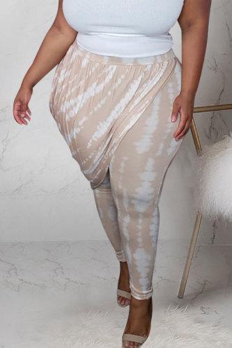 Apricot Polyester Fashion adult OL Patchwork Print Draped Stitching Plus Size