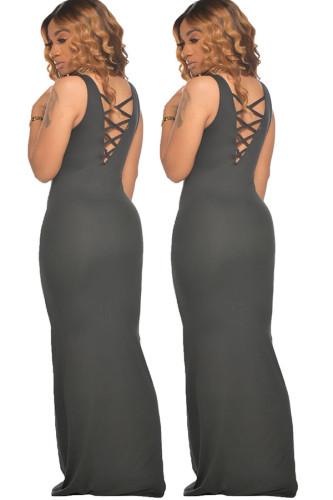 Black Milk. Fashion adult Ma'am OL Red Black Grey Wine Red Dark Blue Tank Sleeveless O neck Pencil Dress Floor-Length Solid Dresses
