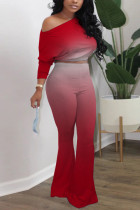Red Polyester Casual Solid Gradient Loose Long Sleeve Two Pieces