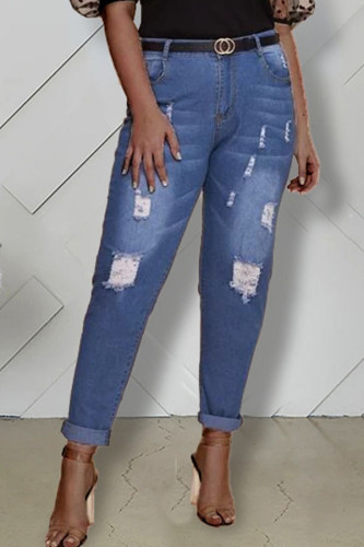 Dark Blue Denim Fashion Casual adult Ma'am Hole Plus Size