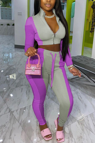 purple Fashion Casual Street Sportswear Polyester Twilled Satin Patchwork Solid Split Joint Pants Zipper Collar Long Sleeve Regular Sleeve Short Two Pieces