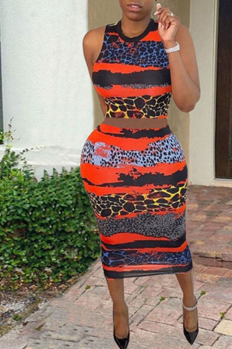 Orange Polyester Fashion adult Ma'am OL Print Two Piece Suits pencil Sleeveless Two Pieces