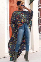 Dark Blue Polyester O Neck Long Sleeve HOLLOWED OUT Print asymmetrical Patchwork Long Sleeve Tops