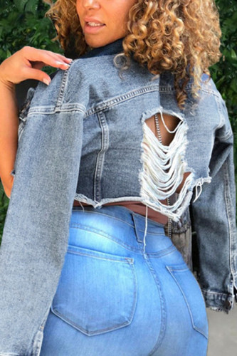 Light Blue Polyester Turndown Collar Long Sleeve Solid TOPS
