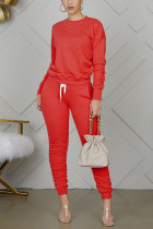 Red Polyester Casual Solid Straight Long Sleeve Two Pieces
