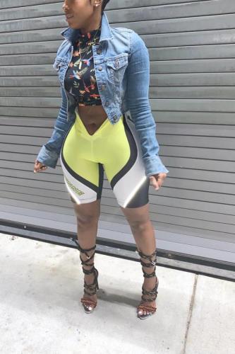 Multi-color Polyester Zipper Fly High Patchwork Sequin Skinny Capris Leggings