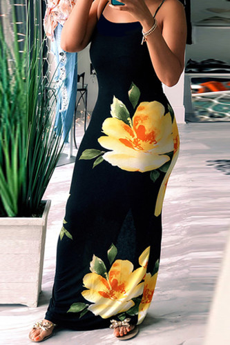 Yellow Polyester Fashion Casual Off The Shoulder Sleeveless Slip Step Skirt Floor-Length Floral Striped Col