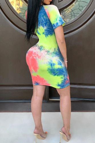 colour Polyester Sexy Wrap sleeves Short Sleeves O neck Pencil Dress Mini Tie and dye Dresses
