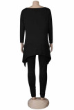 Black Polyester Fashion Sexy Casual Solid Straight Long Sleeve Two Pieces