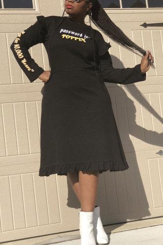 Black Fashion Sexy Cap Sleeve Long Sleeves O neck A-Line Knee-Length ruffle Print Patchwork Print Dresses HM93050