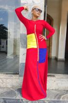 Red Polyester Sexy Fashion adult Cap Sleeve Long Sleeves O neck Step Skirt Floor-Length Patchwork Solid