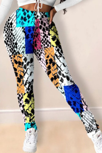 colour Fashion Casual Daily Polyester Twilled Satin Animal Print Print Pants Plus Size