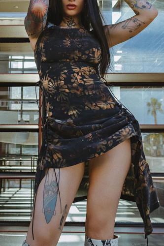 Black Polyester Fashion Sexy adult Ma'am Spaghetti Strap Sleeveless Slip Asymmetrical Mid-Calf Print asymmetrical Dresses