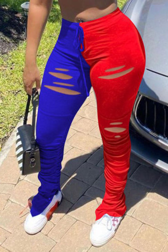 Red and blue Cotton Drawstring High Patchwork Split Draped Boot Cut Pants BOTTOMS