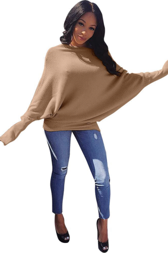 Khaki Cotton One word collar Long Sleeve Solid Sweaters & Cardigans LDS731132