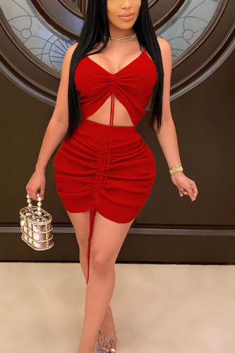 Red Sexy Polyester Solid Frenulum Fold Spaghetti Strap Sleeveless Spaghetti Strap Short Two Pieces