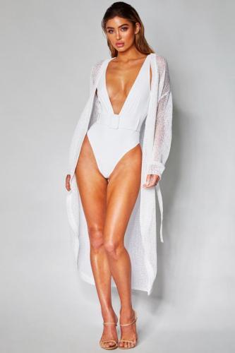 White Polyester Solid Asymmetrical Fashion Sexy One-Piece Swimwear CS861211