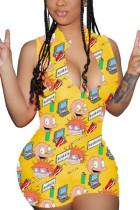 Yellow Fashion street Print Milk. Sleeveless O Neck Jumpsuits