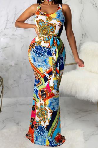 multicolor Polyester Fashion Sexy adult Ma'am Tank Sleeveless Slip Asymmetrical Floor-Length Print Dresses