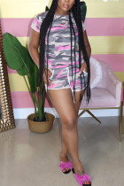 Pink Cotton Fashion adult Ma'am Street Print Two Piece Suits Straight Short Sleeve Two Pieces