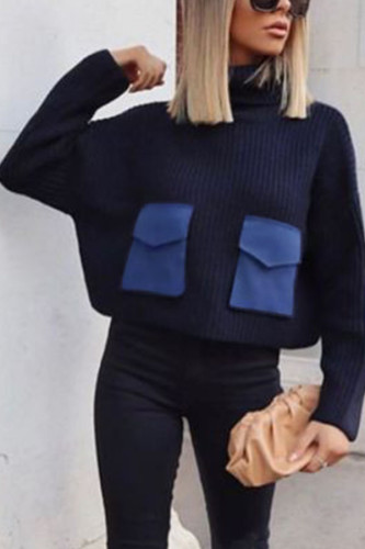 Blue Fashion Daily Adult Polyester Patchwork Solid Split Joint Turtleneck TOPS