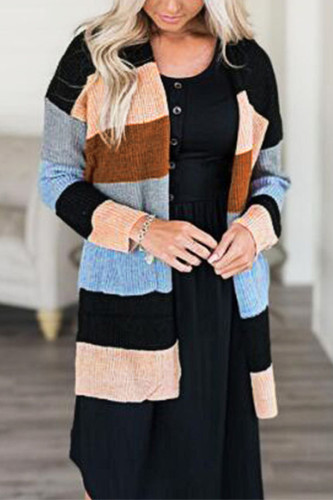 Black cardigan Patchwork Polyester Others Long Sleeve Outerwear