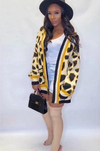 Yellow knitting cardigan Long Sleeve Leopard Patchwork Sweaters & Cardigans MD621269