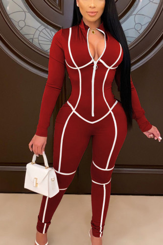 Wine Red Fashion Polyester Print O Neck Straight Jumpsuits