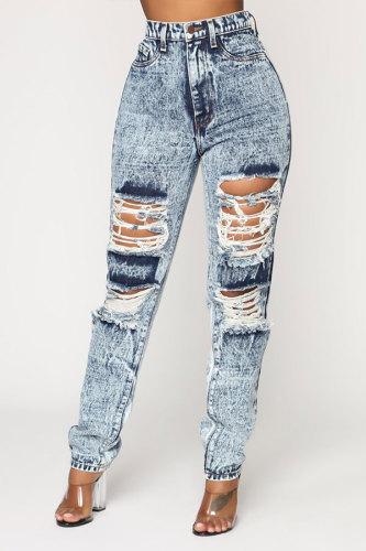 Grey Denim Fashion Casual adult Patchwork Hole Old washing Stitching Plus Size
