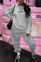 Grey Casual Street Sportswear Polyester Letter Patchwork Print Solid Split Joint Pullovers Pants O Neck Long Sleeve Regular Sleeve Regular Two Pieces