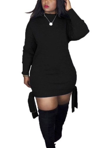 Black Polyester Sexy Europe and America Long Sleeves O neck Step Skirt skirt Solid Dresses