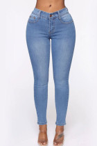 Light Blue Denim Fashion adult Ma'am Lightly cooked Solid Hole Plus Size