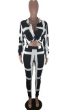 Black Polyester Fashion Casual adult Ma'am Turndown Collar Striped Stitching Plus Size