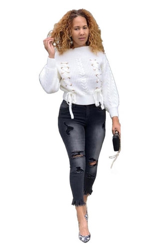 White Arylic One word collar Long Sleeve Bandage Solid YS52901