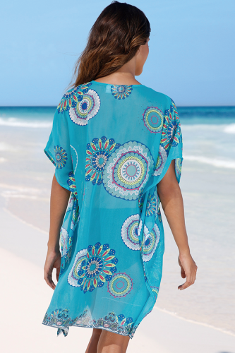 Blue Chiffon Asymmetrical Print Patchwork Sexy Fashion Cover-Ups & Beach Dresses SJ381194