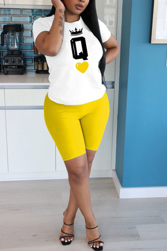Yellow Polyester Fashion Casual adult Ma'am Print Two Piece Suits pencil Short Sleeve Two Pieces