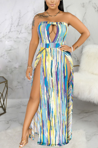 Green Polyester Fashion Sexy adult Ma'am Off The Shoulder Sleeveless Wrapped chest Swagger Floor-Length Print Dresses