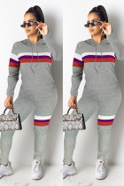 Grey Polyester Fashion adult Casual Tie Dye Striped Print Two Piece Suits Patchwork pencil Long Sleeve Two-piece Pants Set SI110068