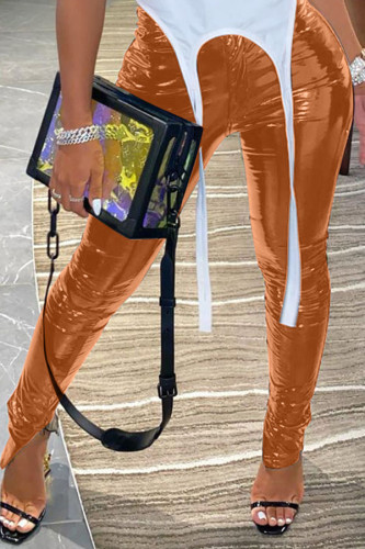 Coffee Sexy Street Polyester Patent Leather Solid Slit Skinny BOTTOMS