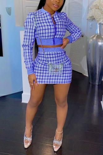 Blue Cotton Blends Celebrities Plaid Patchwork Print Hip skirt Long Sleeve Two Pieces