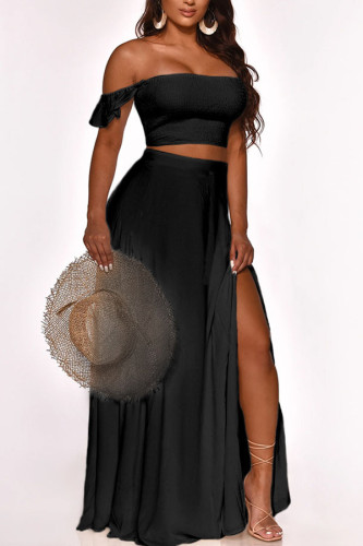 Black Milk Silk Fashion Sexy adult Ma'am Solid Two Piece Suits A-line skirt Sleeveless Two Pieces