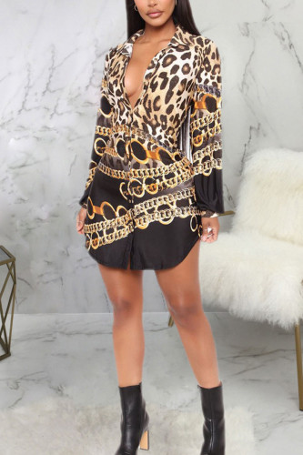 multicolor Fashion Sexy Adult Polyester Print Split Joint Turndown Collar Long Sleeve Mini A Line Dresses
